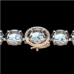 60 CTW Aquamarine & Micro Pave VS/SI Diamond Halo Bracelet 14K Rose Gold - REF-616T8M - 22251
