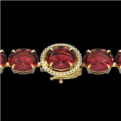 65 CTW Pink Tourmaline & Micro VS/SI Diamond Halo Bracelet 14K Yellow Gold - REF-772A2X - 22274