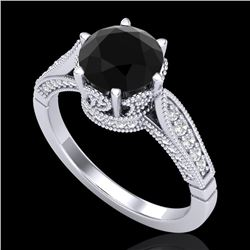 2.2 CTW Fancy Black Diamond Solitaire Engagement Art Deco Ring 18K White Gold - REF-141Y8K - 38087