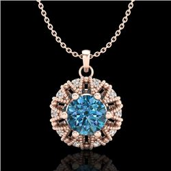 1.2 CTW Fancy Intense Blue Diamond Art Deco Stud Necklace 18K Rose Gold - REF-118Y2K - 37741