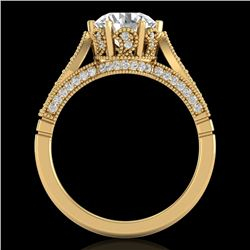 2.2 CTW VS/SI Diamond Art Deco Ring 18K Yellow Gold - REF-725H5A - 37240