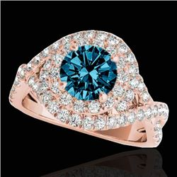 2 CTW Si Certified Blue Diamond Solitaire Halo Ring 10K Rose Gold - REF-236M4H - 33879