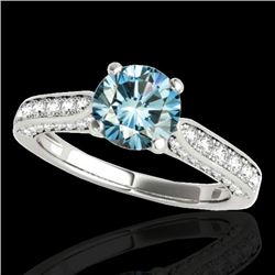 1.6 CTW Si Certified Fancy Blue Diamond Solitaire Ring 10K White Gold - REF-180F2N - 34921