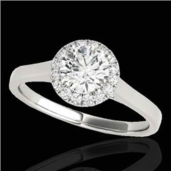 1.11 CTW H-SI/I Certified Diamond Solitaire Halo Ring 10K White Gold - REF-167X3T - 33814
