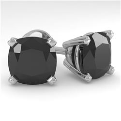 12 CTW Cushion Black Diamond Stud Designer Earrings 14K White Gold - REF-323A6X - 38395
