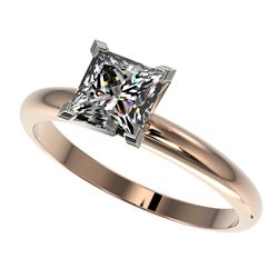 1.25 CTW Certified VS/SI Quality Princess Diamond Solitaire Ring 10K Rose Gold - REF-372W3F - 32917