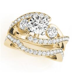 2.54 CTW Certified VS/SI Diamond Bypass Solitaire 2Pc Wedding Set 14K Yellow Gold - REF-609W6F - 317