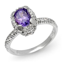 1.90 CTW Tanzanite & Diamond Ring 18K White Gold - REF-86Y4K - 13473