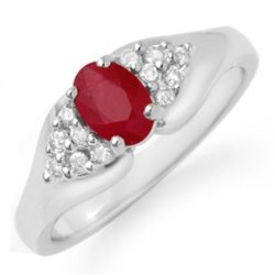 0.83 CTW Ruby & Diamond Ring 18K White Gold - REF-44T8M - 12922