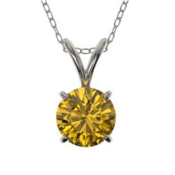 0.73 CTW Certified Intense Yellow SI Diamond Solitaire Necklace 10K White Gold - REF-100F5N - 36746