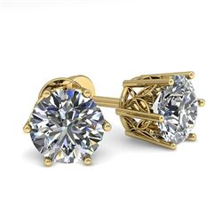 1.50 CTW VS/SI Diamond Stud Solitaire Earrings 18K Yellow Gold - REF-298K8W - 35839
