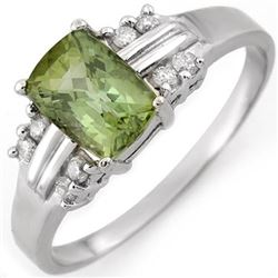 1.41 CTW Green Tourmaline & Diamond Ring 18K White Gold - REF-42F8N - 10520