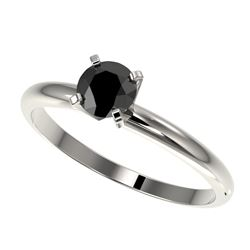 0.50 CTW Fancy Black VS Diamond Solitaire Engagement Ring 10K White Gold - REF-23A3X - 32858