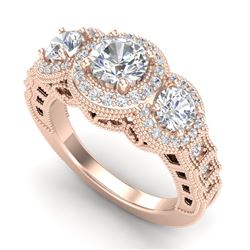 2.16 CTW VS/SI Diamond Solitaire Art Deco 3 Stone Ring 18K Rose Gold - REF-361Y8K - 36969