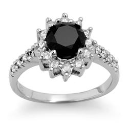 2.45 CTW VS Certified Black & White Diamond Solitaire Ring 14K White Gold - REF-100Y5K - 14040