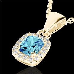 1.25 CTW Sky Blue Topaz & Micro VS/SI Diamond Halo Necklace 10K Yellow Gold - REF-27K3W - 22894