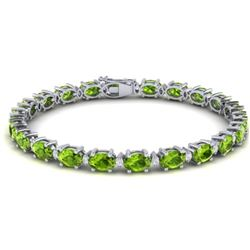 26.3 CTW Peridot & VS/SI Certified Diamond Eternity Bracelet 10K White Gold - REF-174H4A - 29457
