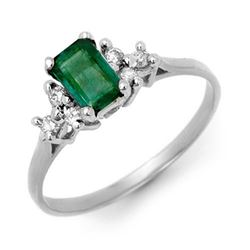 0.74 CTW Emerald & Diamond Ring 18K White Gold - REF-27M6H - 13763