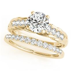 0.79 CTW Certified VS/SI Diamond Solitaire 2Pc Wedding Set 14K Yellow Gold - REF-121F8N - 31645