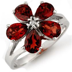2.52 CTW Garnet & Diamond Ring 10K White Gold - REF-18T2M - 10540