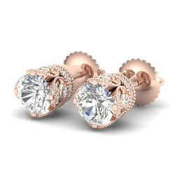 1.85 CTW VS/SI Diamond Solitaire Art Deco Stud Earrings 18K Rose Gold - REF-261H8A - 36858