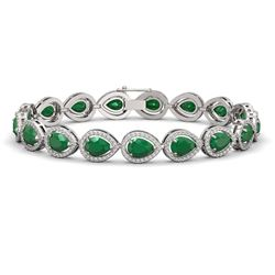 21.69 CTW Emerald & Diamond Halo Bracelet 10K White Gold - REF-315Y5K - 41090