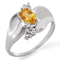 0.79 CTW Yellow Sapphire & Diamond Ring 18K White Gold - REF-48H2A - 11418