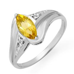 0.36 CTW Citrine & Diamond Ring 18K White Gold - REF-26X2T - 12291