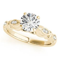 0.4 CTW Certified VS/SI Diamond Solitaire Antique Ring 18K Yellow Gold - REF-77H5A - 27344