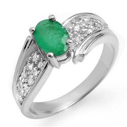 1.43 CTW Emerald & Diamond Ring 14K White Gold - REF-65M5H - 13380
