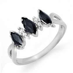 0.57 CTW Blue Sapphire & Diamond Ring 18K White Gold - REF-30M2H - 12738