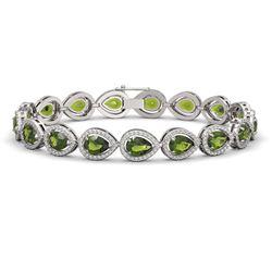 16.93 CTW Tourmaline & Diamond Halo Bracelet 10K White Gold - REF-365Y8K - 41111