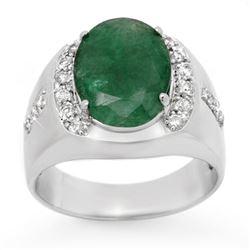 6.33 CTW Emerald & Diamond Men's Ring 10K White Gold - REF-71A5X - 13416