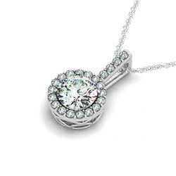 1.5 CTW VS/SI Diamond Solitaire Halo Necklace 14K White Gold - REF-386Y5K - 29983