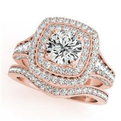 2.28 CTW Certified VS/SI Diamond 2Pc Wedding Set Solitaire Halo 14K Rose Gold - REF-449M6H - 30913