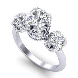 3 CTW VS/SI Diamond Solitaire Art Deco 3 Stone Ring 18K White Gold - REF-649T3M - 36866