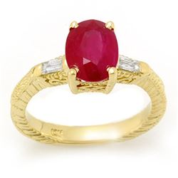 3.70 CTW Ruby & Diamond Ring 10K Yellow Gold - REF-36H8A - 11682