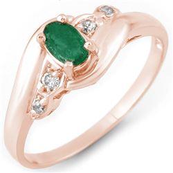 0.42 CTW Emerald & Diamond Ring 14K Rose Gold - REF-23N3Y - 10982