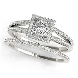 1.26 CTW Certified VS/SI Princess Diamond 2Pc Set Solitaire Halo 14K White Gold - REF-232H2A - 31361