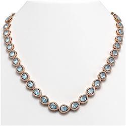 33.35 CTW Aquamarine & Diamond Halo Necklace 10K Rose Gold - REF-738A2X - 41067
