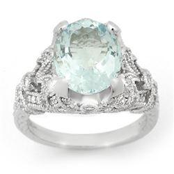 6.10 CTW Aquamarine & Diamond Ring 14K White Gold - REF-148K5W - 14518