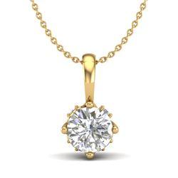 0.62 CTW VS/SI Diamond Art Deco Stud Necklace 18K Yellow Gold - REF-101X8T - 37024