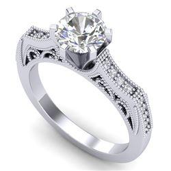 1.25 CTW VS/SI Diamond Solitaire Art Deco Ring 18K White Gold - REF-400H2A - 37073