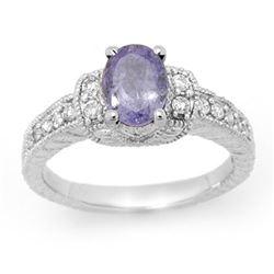 2.0 CTW Tanzanite & Diamond Ring 18K White Gold - REF-79M3H - 14250