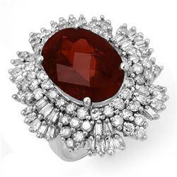 13.25 CTW Pink Tourmaline & Diamond Ring 18K White Gold - REF-490A9X - 14209