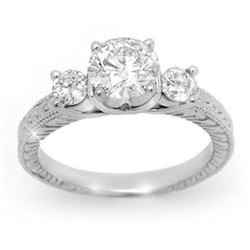 1.50 CTW Certified VS/SI Diamond Ring 14K White Gold - REF-393H9A - 13431