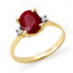 3.0 CTW Ruby & Diamond Ring 14K Yellow Gold - REF-22W2F - 14056