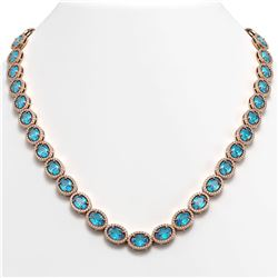 55.41 CTW Swiss Topaz & Diamond Halo Necklace 10K Rose Gold - REF-681H8A - 40587