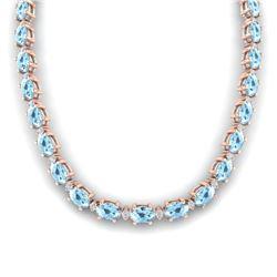 37.5 CTW Aquamarine & VS/SI Certified Diamond Eternity Necklace 10K Rose Gold - REF-425Y5K - 29417