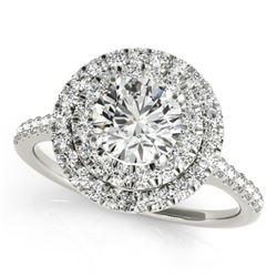 1.5 CTW Certified VS/SI Diamond Solitaire Halo Ring 18K White Gold - REF-390W5F - 26225